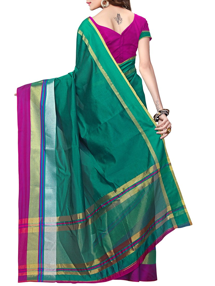 green poly silk mysore saree with blouse