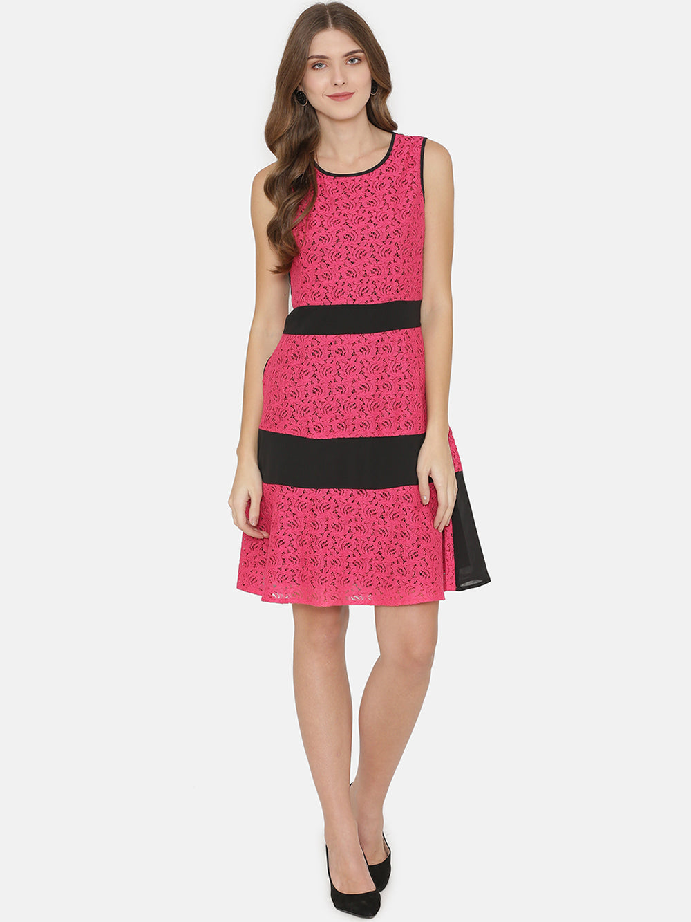 eyelet Women Pink & Black Self Design Fit and Flare Dress