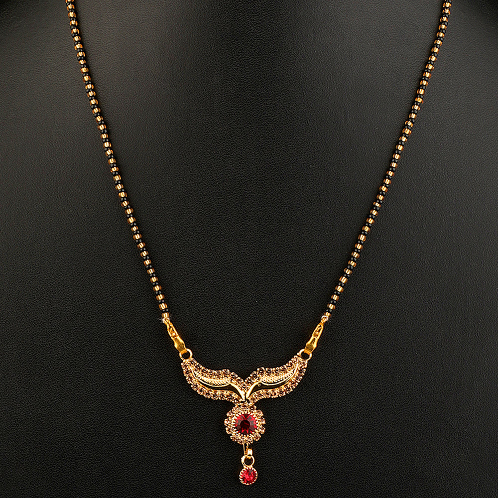 Gold-Plated Black & White AD-Studded Beaded Mangalsutra