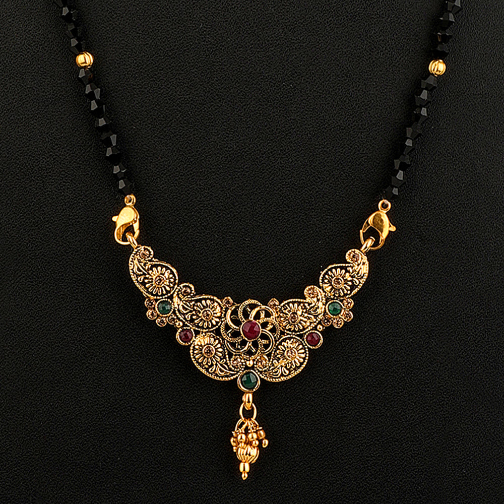 Black Gold-Plated AD-Studded & Beaded Mangalsutra