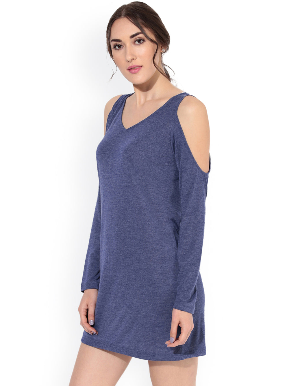 Besiva Women Blue Solid A-Line Dress