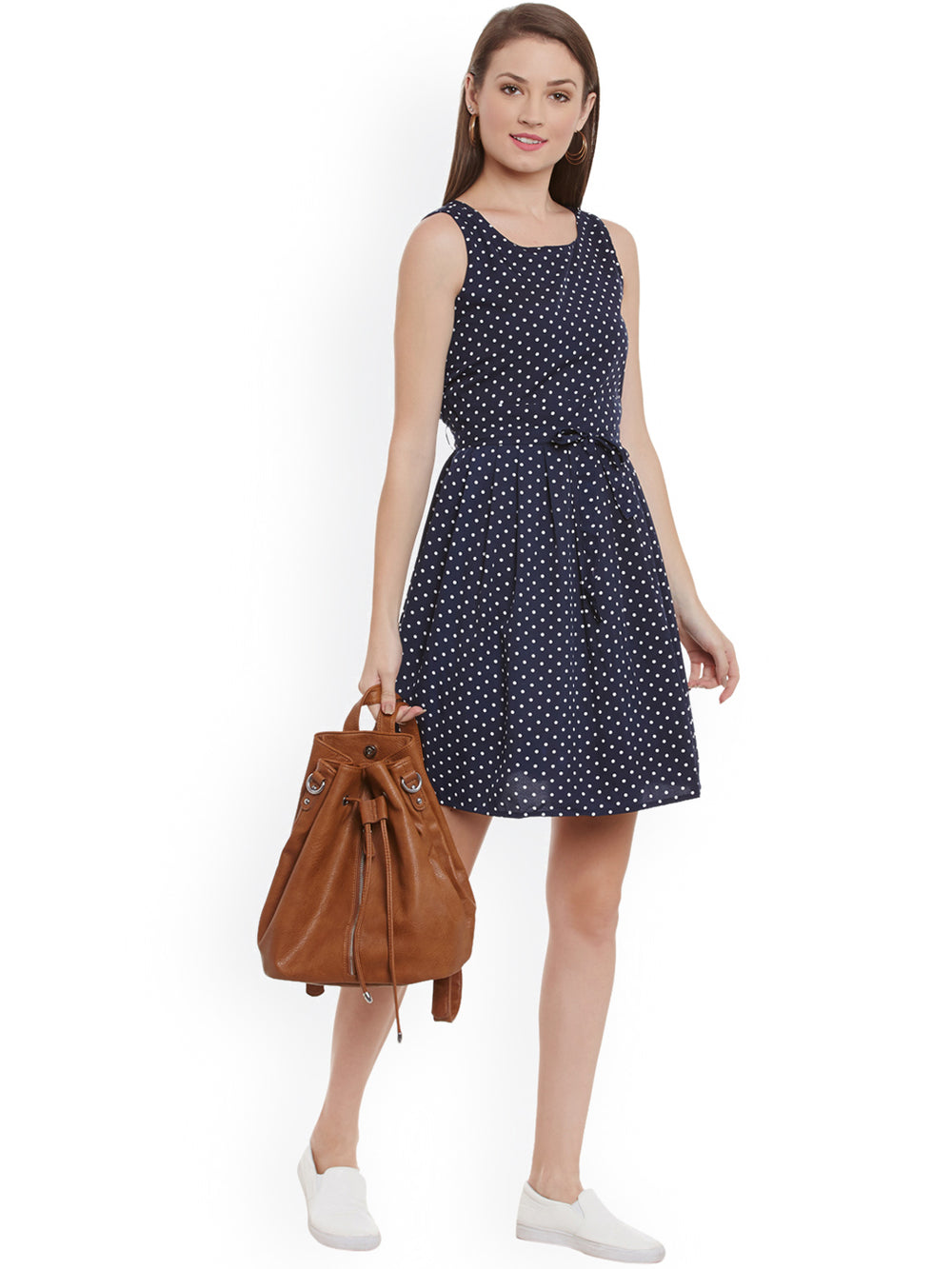 eyelet Women Navy Printed Crepe Fit & Flare Dress