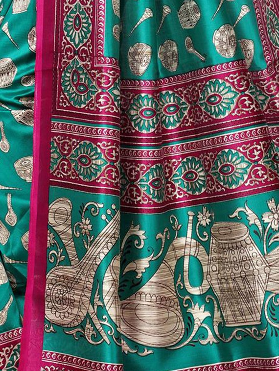 green art silk mysore saree with blouse