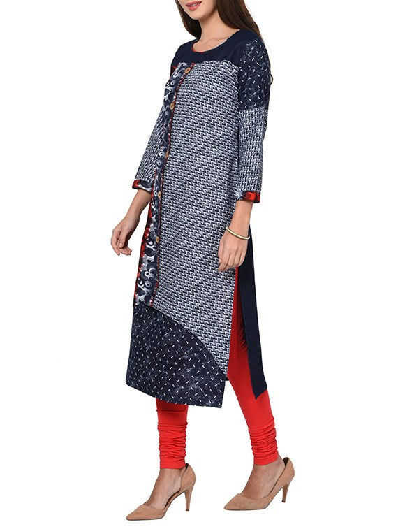 grey denim straight kurta
