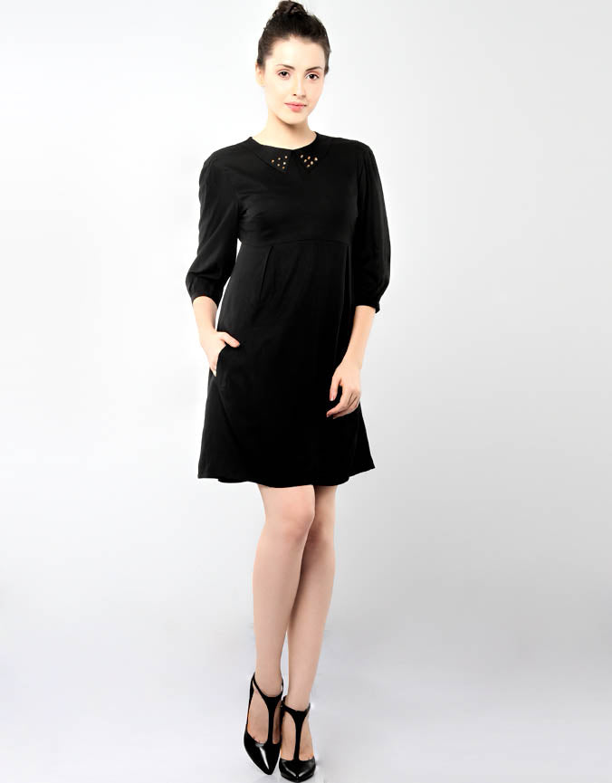 Studded Collar Dress Black