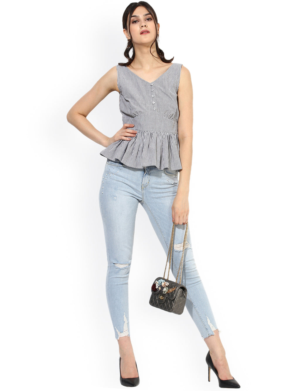 Besiva Women White & Grey Striped Peplum Top