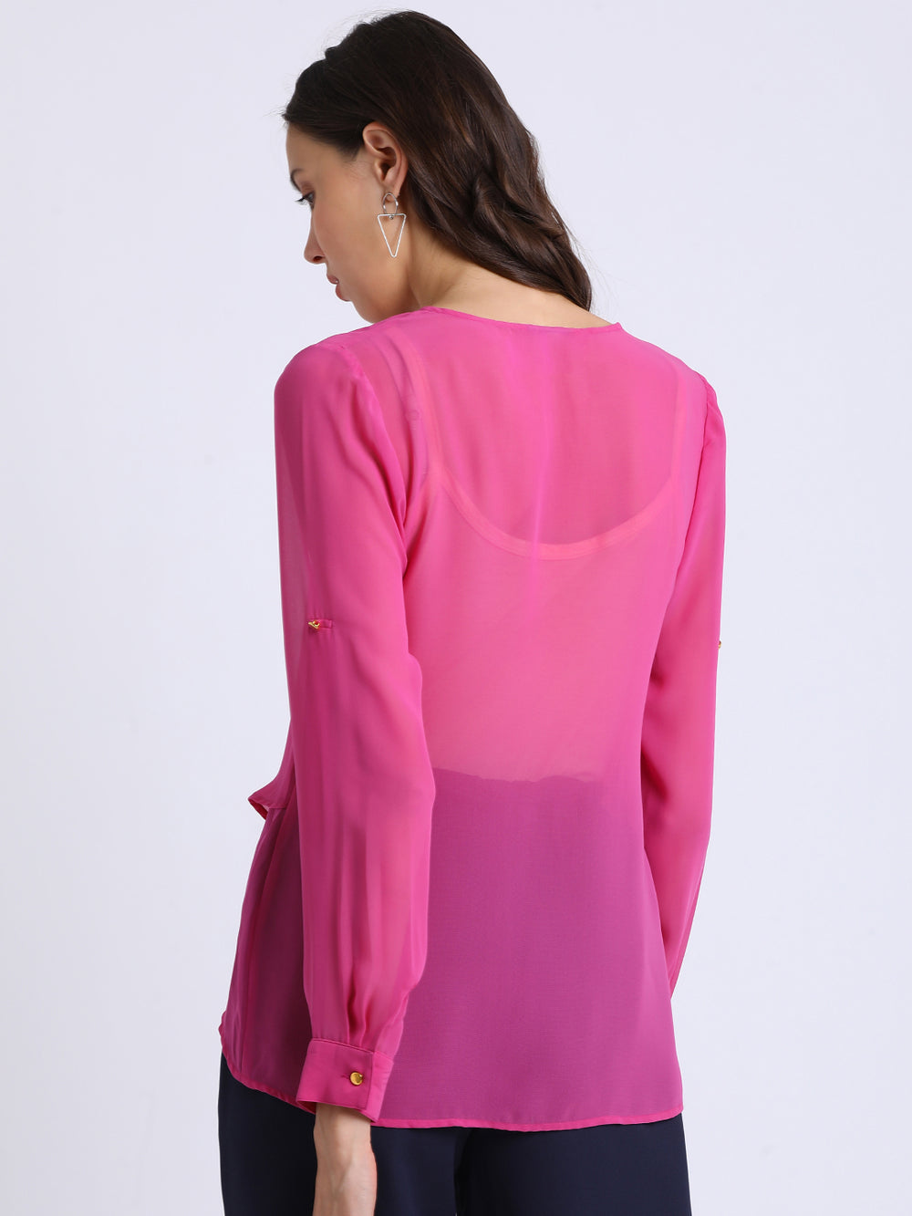 Besiva Women Pink Solid Tiered Top