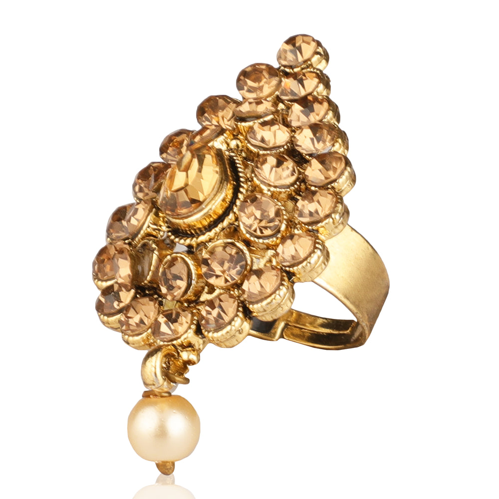 Gold Toned & Pearls Adjustable Finger Rings