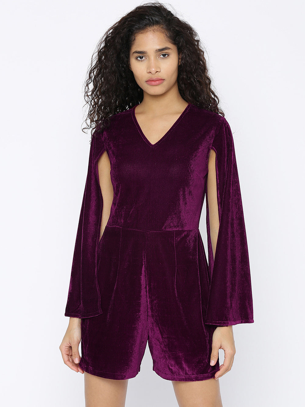 Besiva Purple Solid Playsuit