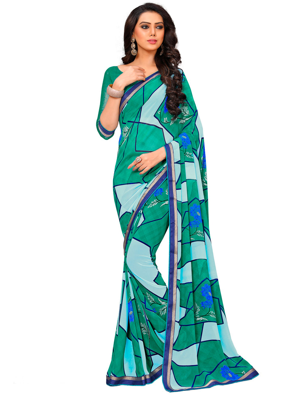 Roop Kashish Women Multi-Coloured Party Wear Georgette Printed Saree With Border And Georgette Blouse Material._RKAM7008