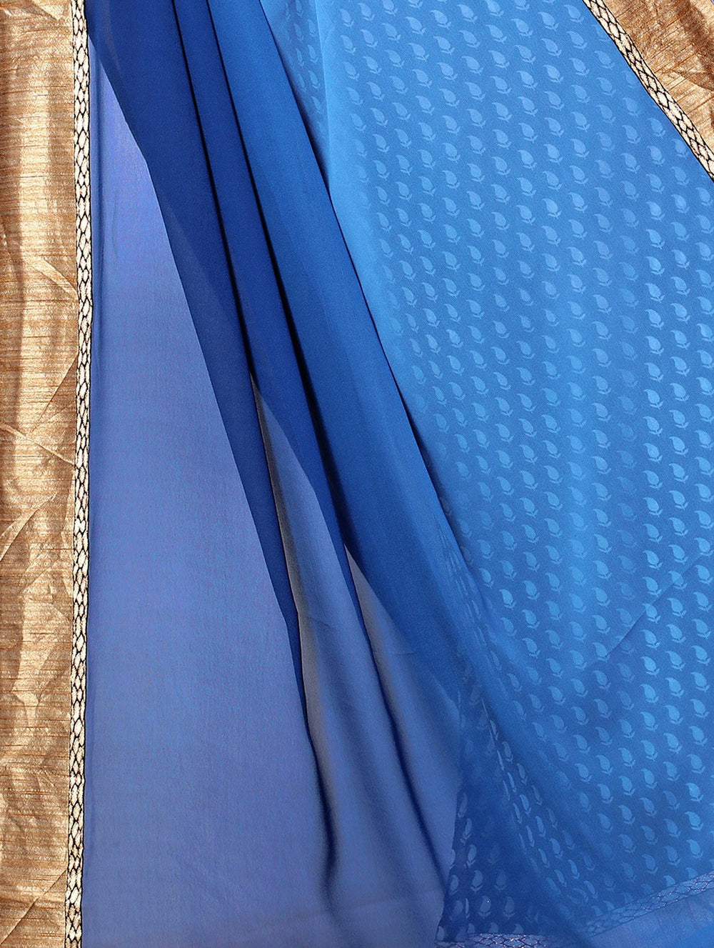 blue half and half  saree with blouse