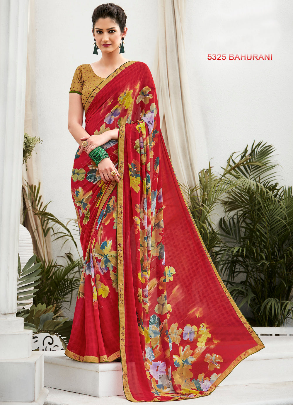 Roop Kashish Women Red Party Wear Georgette Printed Saree With Border And Georgette Blouse Material_RKLP5325
