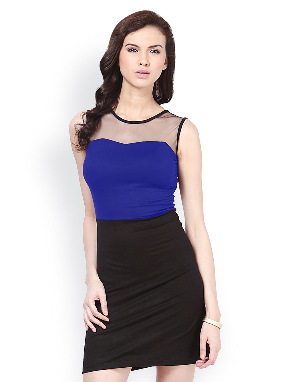 Besiva Blue & Black Bodycon Dress