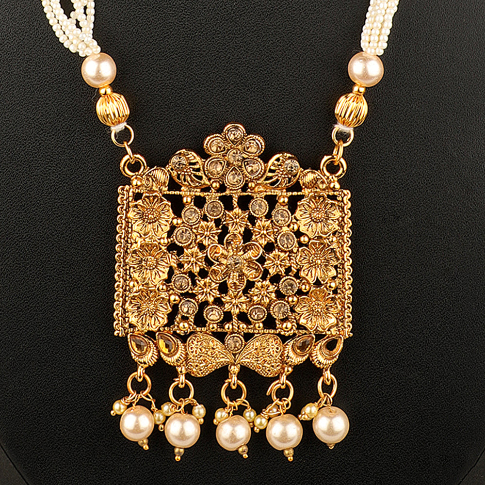Gold-Plated White Kundan-Studded Beaded Filigree Handcrafted Jewellery Set