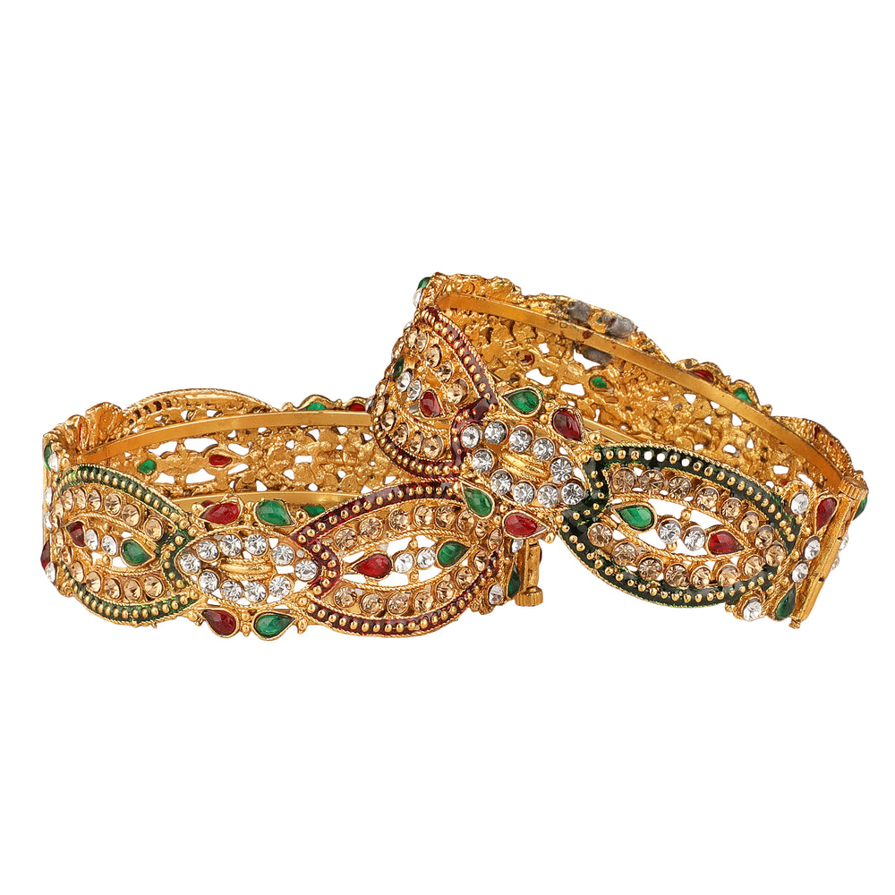Women Set of 2  Gold-Plated Embellished Handcrafted Bangles