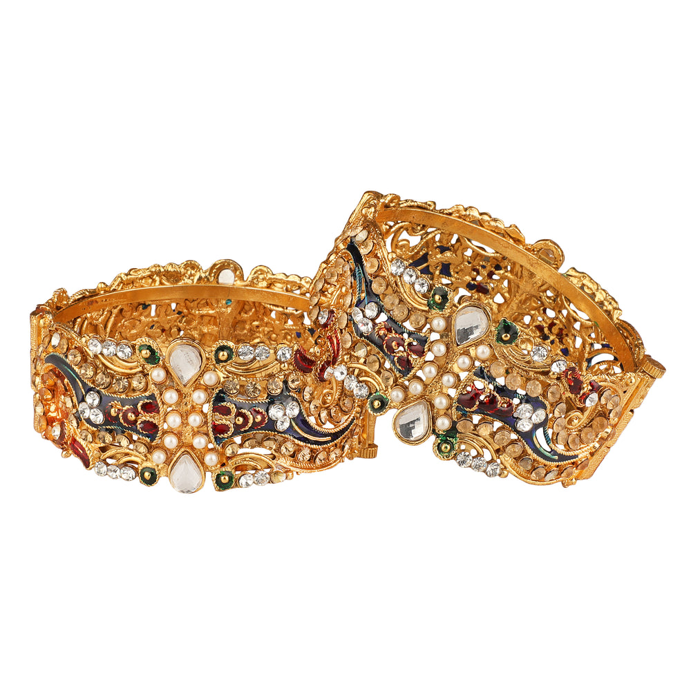Set of 2 Gold-Toned Textured Bangles