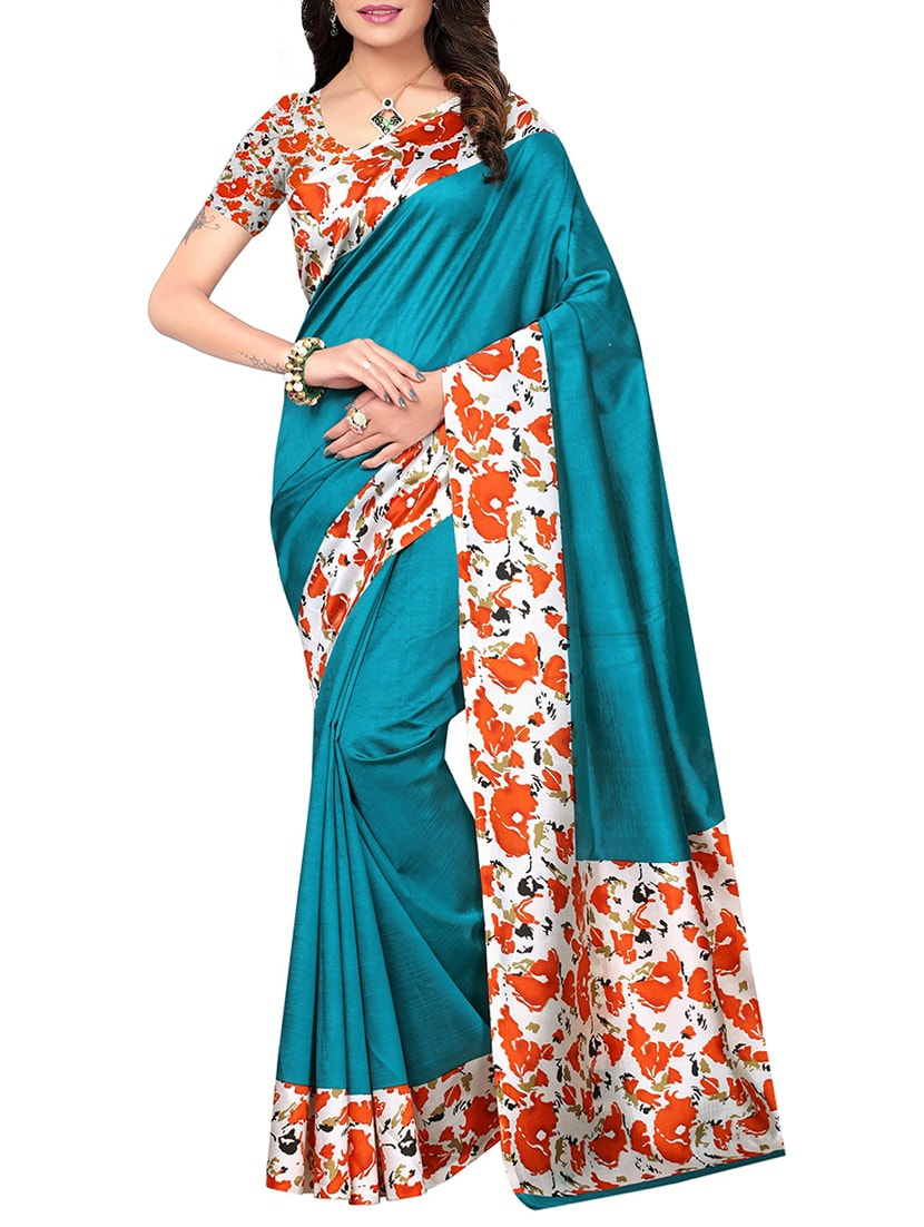 turquoise mysore silk saree with blouse