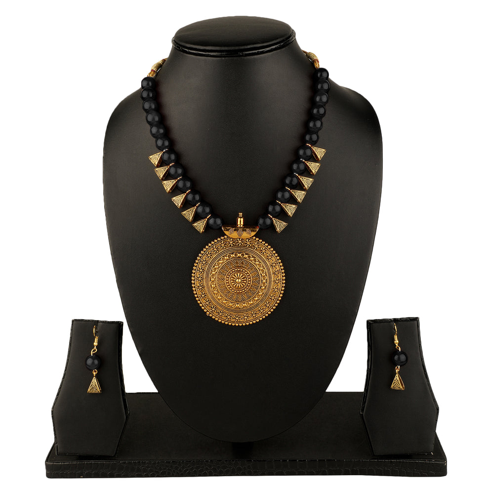 Black & Gold-Plated Oxidised Necklace