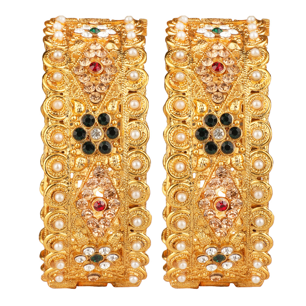 Set of 2  Gold-Plated Handcrafted Embellished Designer Bangles