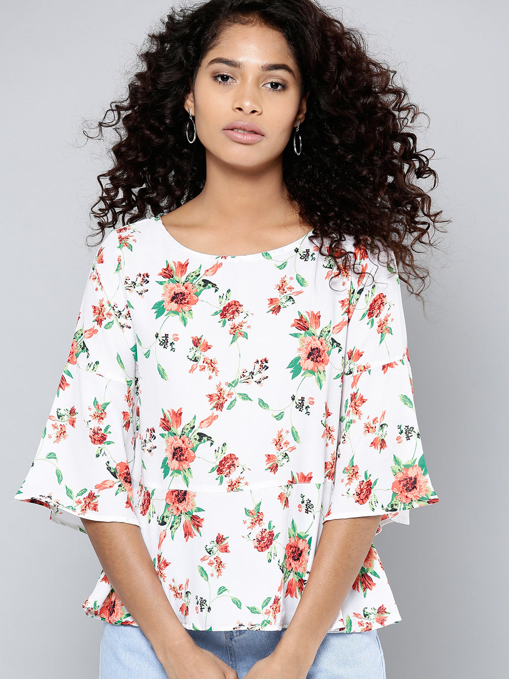Besiva Women White & Peach-Coloured Printed A-Line Top
