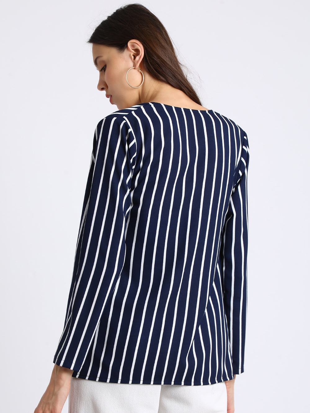 Besiva Navy Blue Striped Open Front Shrug