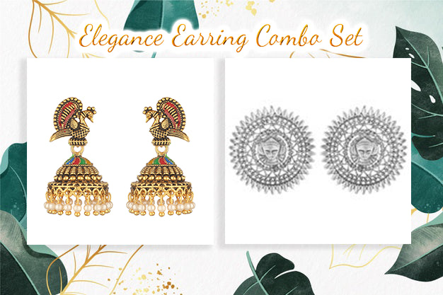 Set Of 2 Silver-Toned & Gold-Toned Dome And Peacock Shaped Studs