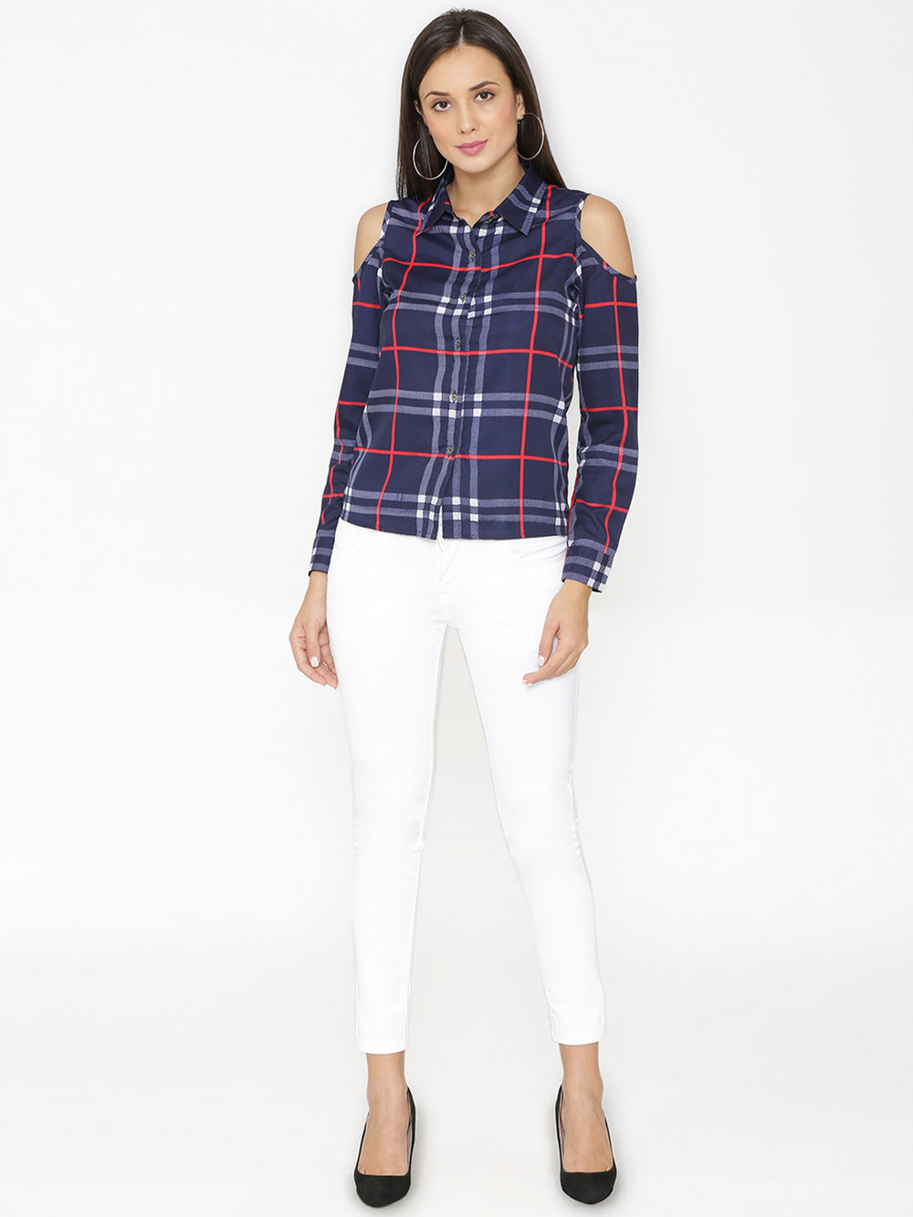 eyelet Women Blue Regular Fit Checked Casual Shirt