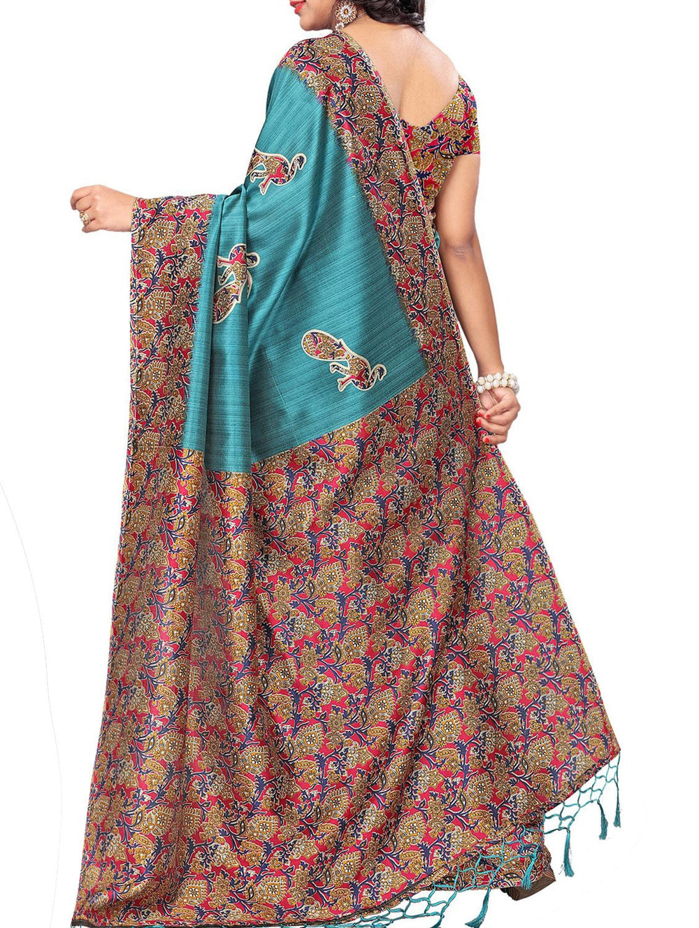 turquoise art silk mysore saree with blouse