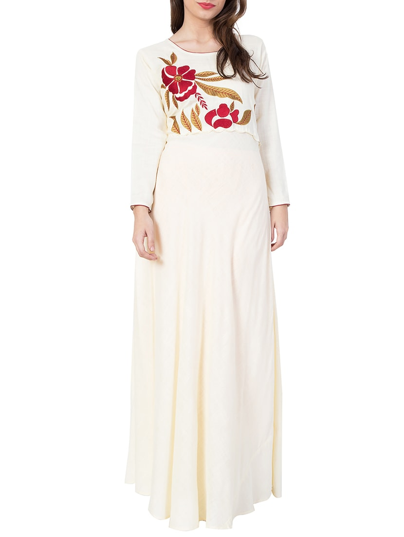white embroidered rayon dress