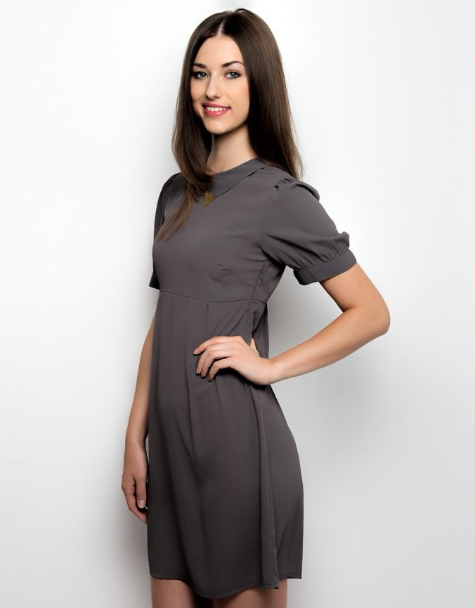 Collar Tip Dress Grey