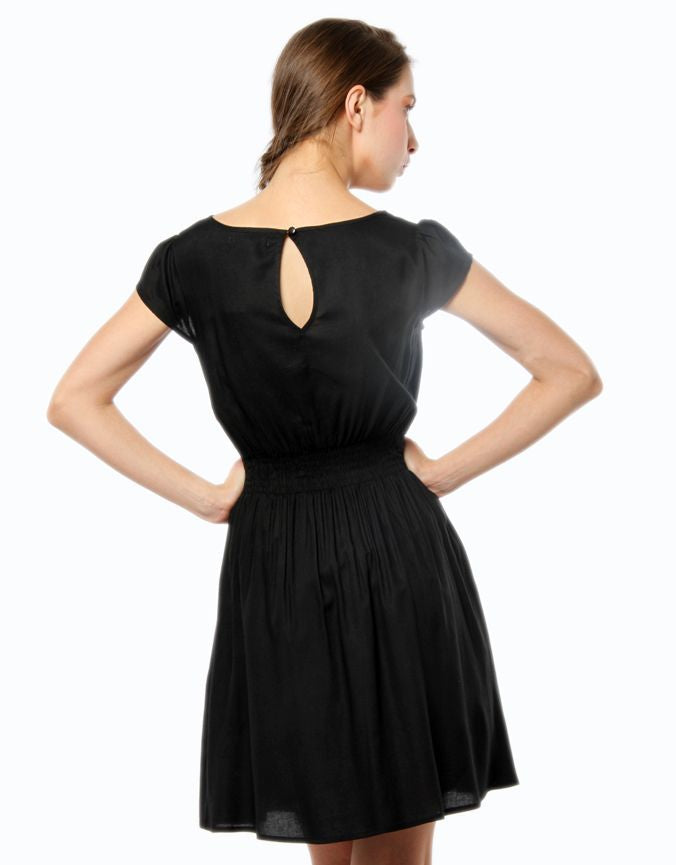 Elasticated Day Dress Black