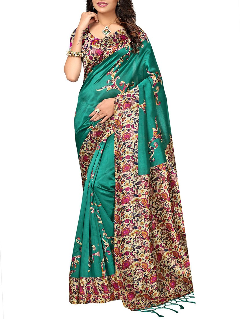 turquoise silk blend mysore saree with blouse