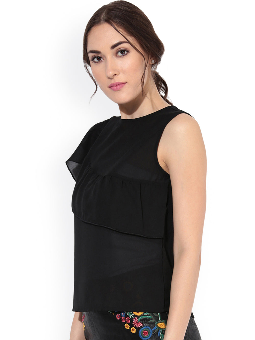 Besiva Women Black Solid Layered Top