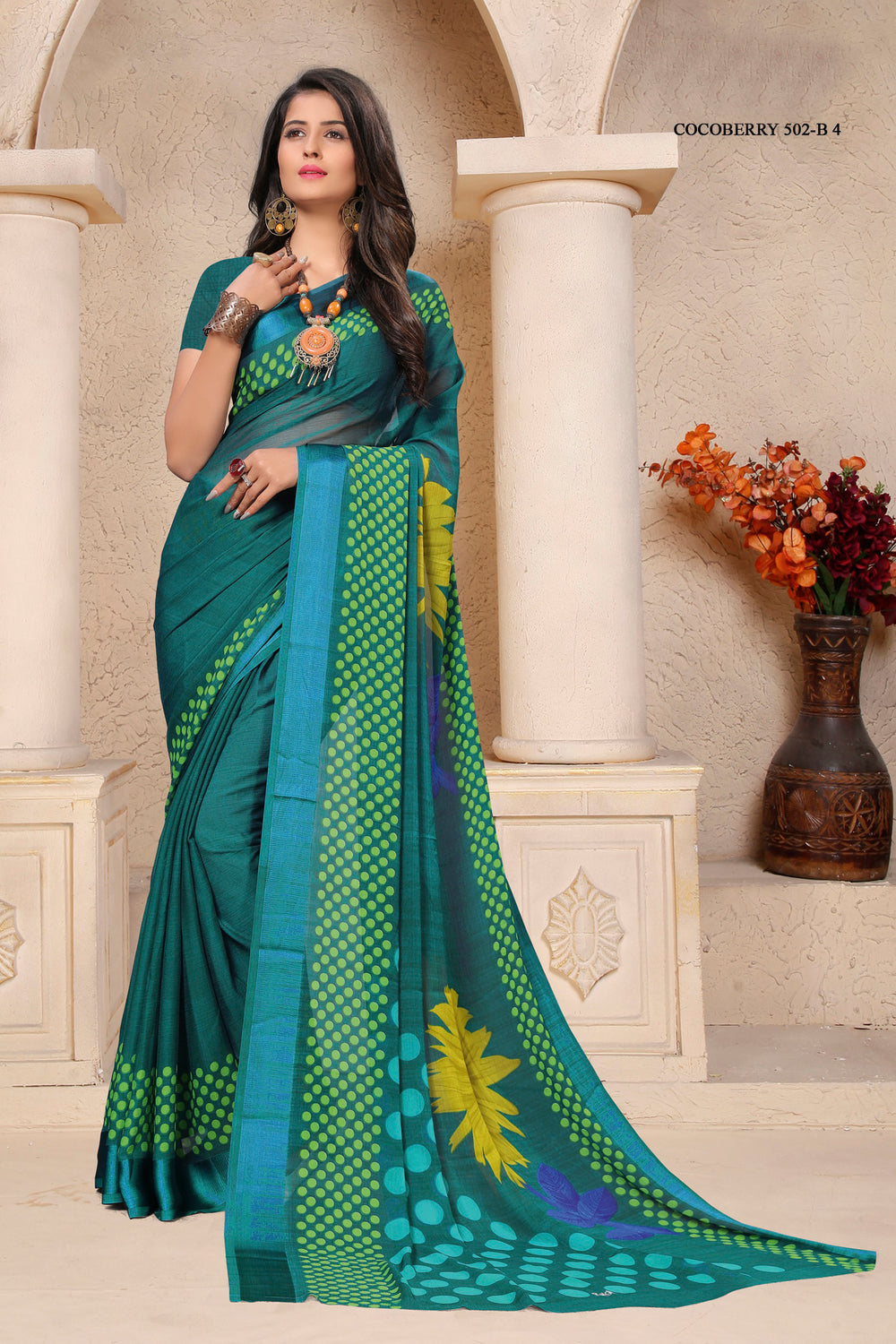 Roop Kashish Women Green Party Wear Floral Printed Chiffon Saree And Chiffon Blouse Material._RKRU502B4
