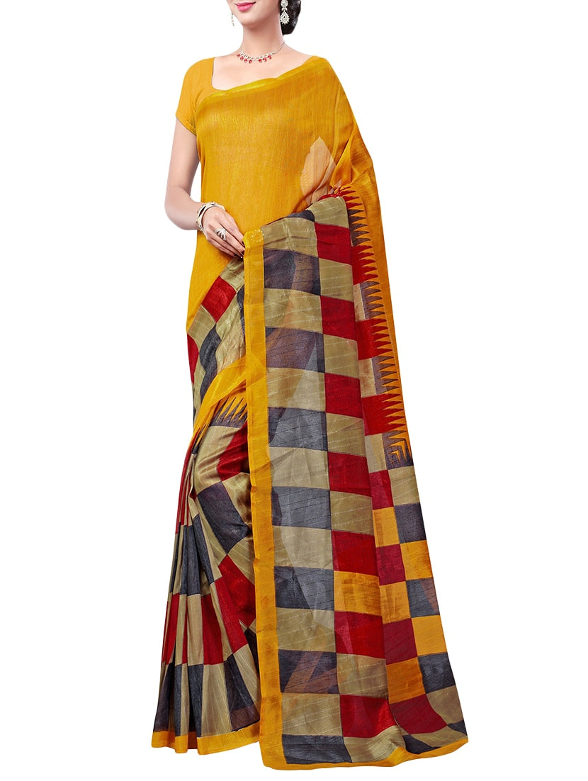 mustard art silk printed saree with blouse