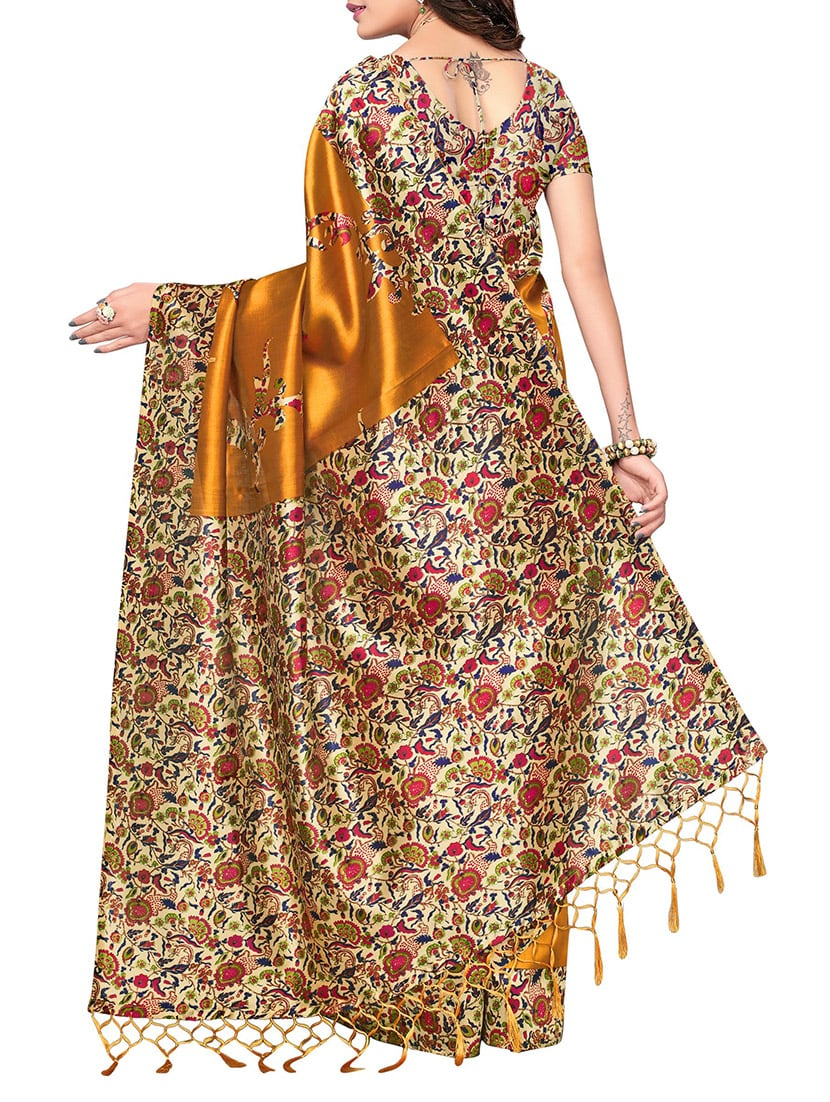 mustard silk blend mysore saree with blouse