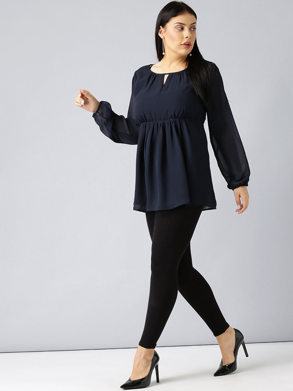 Besiva Women Navy Blue Solid Empire Top