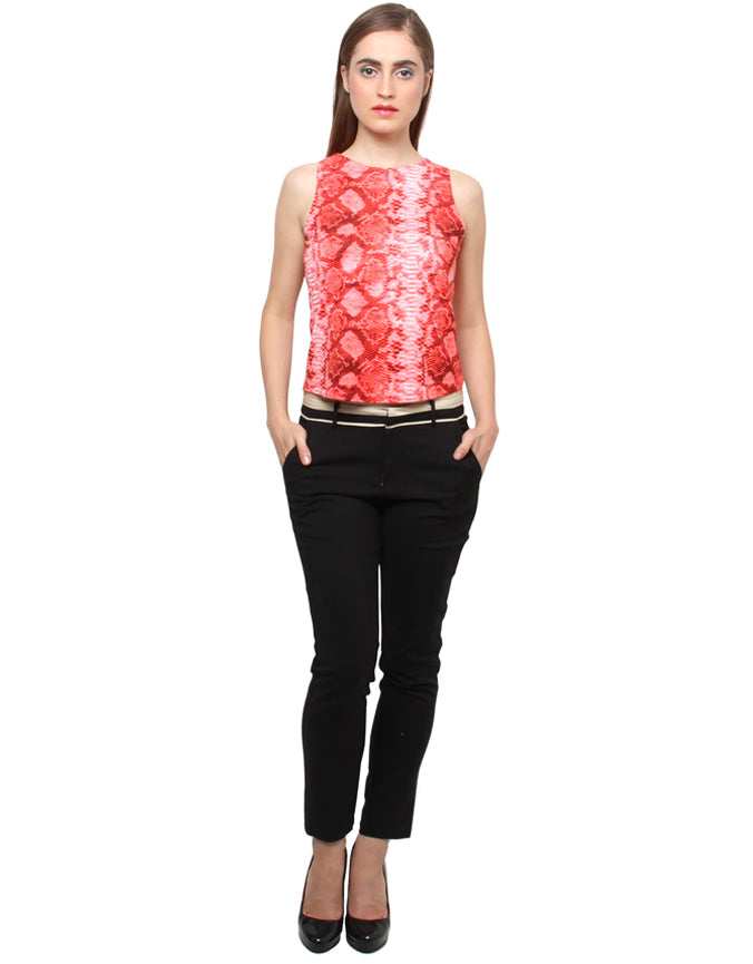 XNY red snake print crop top