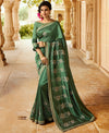 Roop Kashish Women Green Party Wear Silk Saree With Border And Raw Silk Blouse Material_RKPF5858