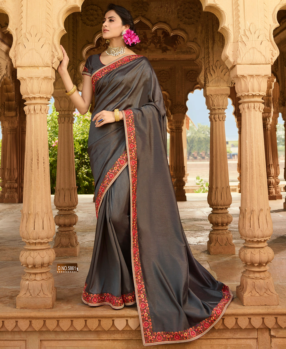 Roop Kashish Women Grey Party Wear Silk Saree With Border And Raw Silk Blouse Material_RKPF5861