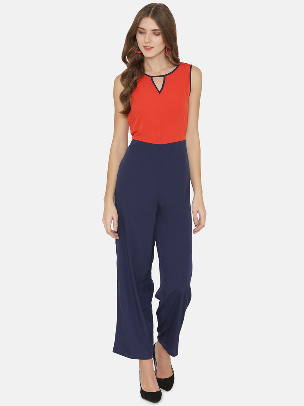 eyelet Red & Blue Colourblocked Basic Jumpsuit