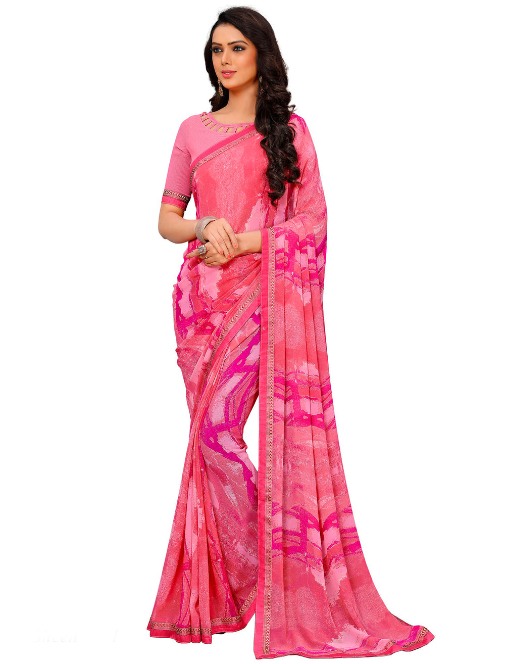 Roop Kashish Women Pink Party Wear Georgette Printed Saree With Border And Georgette Blouse Material._RKAM7021