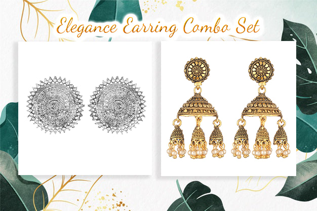 Set Of 2 Gold-Plated Drop Earrings