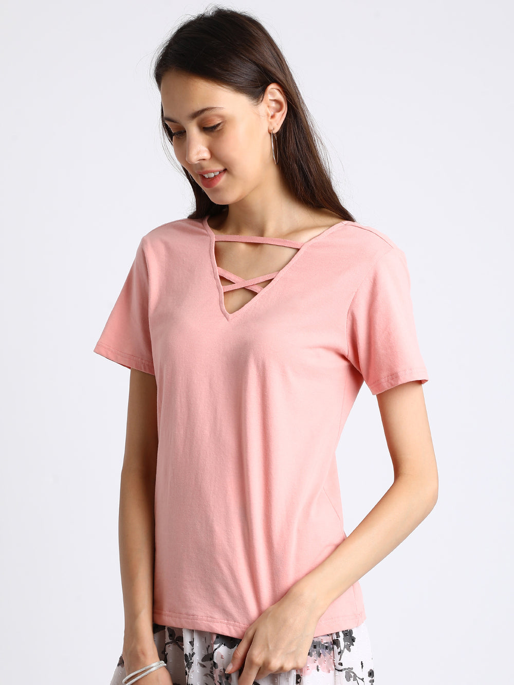 Besiva Women Pink Solid V-Neck T-shirt