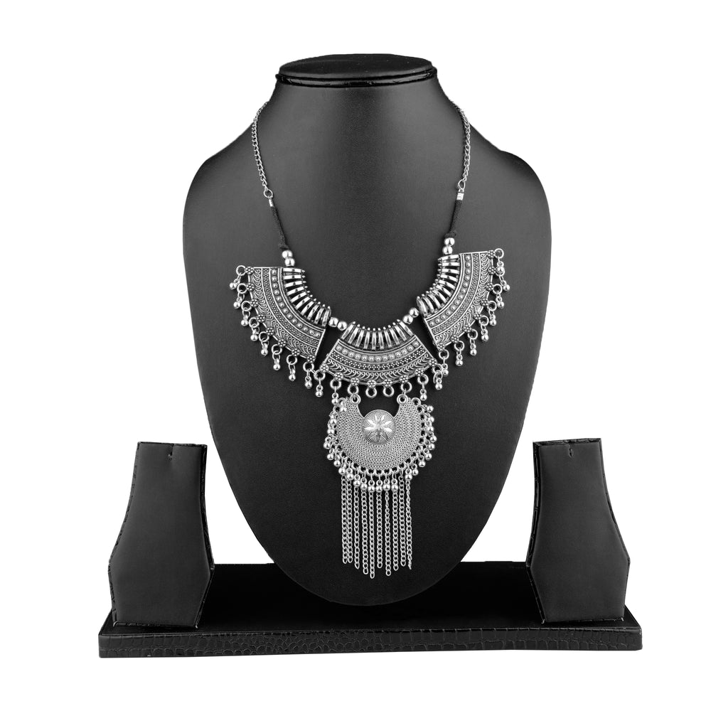 Silver-Plated Handcrafted Antique Temple Design Tasselled Necklace Set