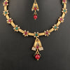 Women Gold Plated Red & Green Stone Studded Temple Jewellery Set