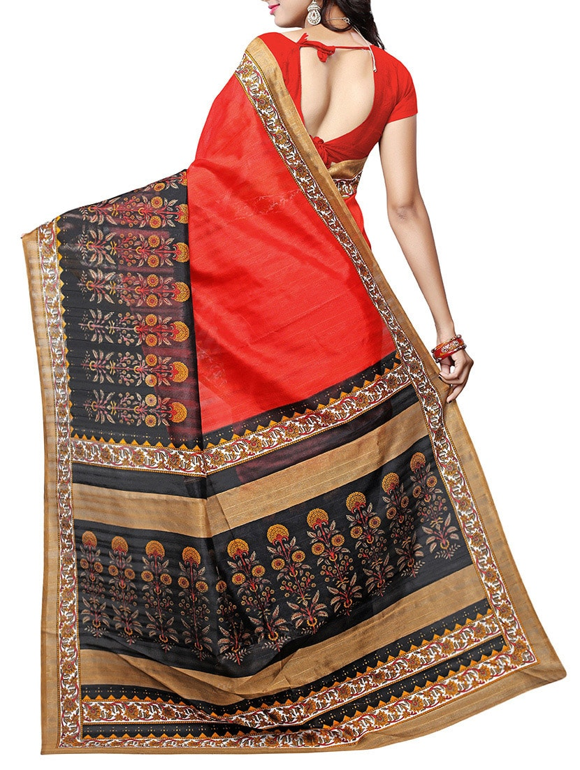 orange art silk bhagalpuri saree with blouse