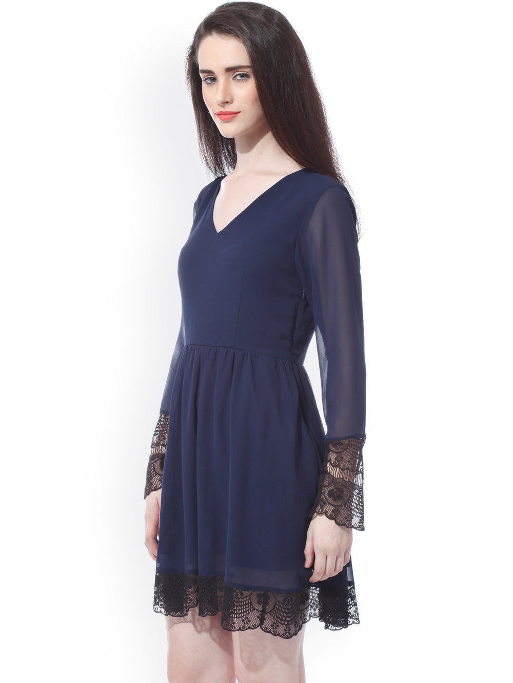 Besiva Navy Fit & Flare Dress