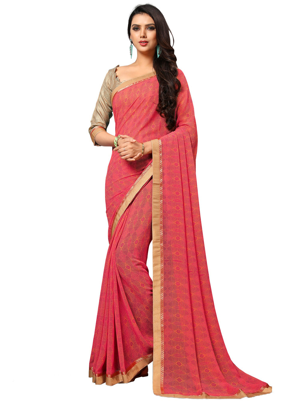 Roop Kashish Women Pink Party Wear Georgette Printed Saree With Border And Georgette Blouse Material_RKAM8012