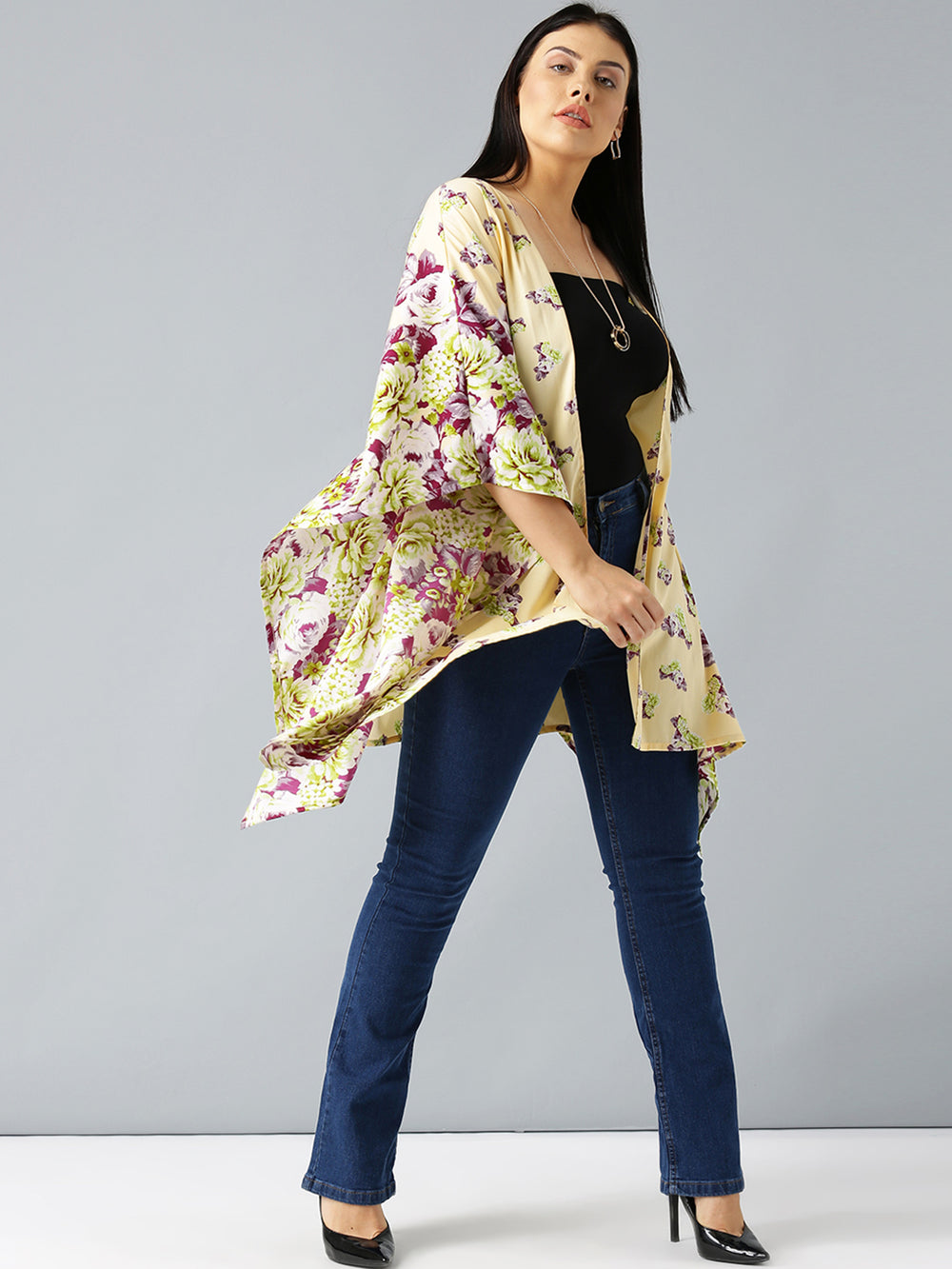 Besiva Yellow Printed Open Front Shrug